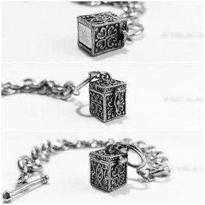 Jewelry - Celtic Prayer Box Pendant Cable Chain Bracelet